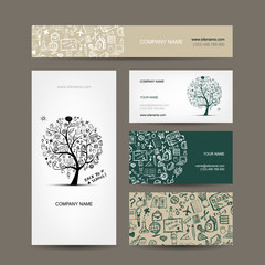 Business cards collection with school sketch for your design