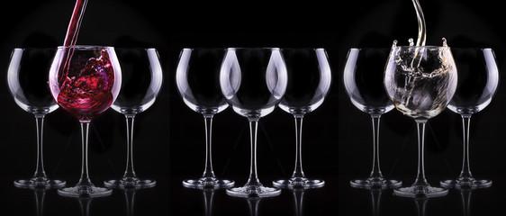 Elegant wine glass in black background