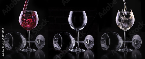 Elegant white wine glass in black background