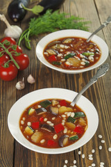 Vegetable soup with white beans