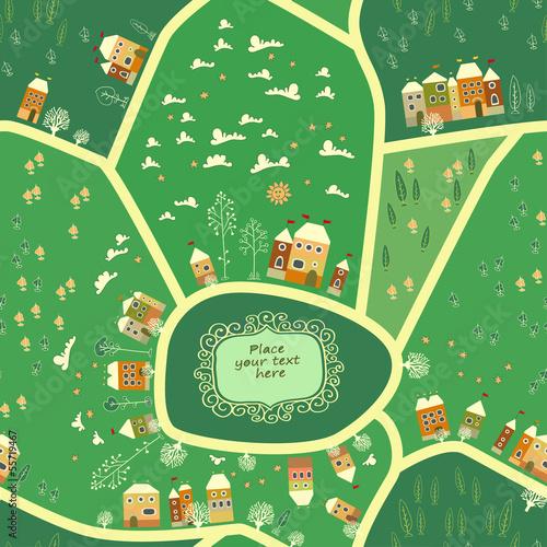 Tuinposter Op straat Cartoon map of city