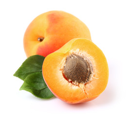 Ripe apricot with leaves