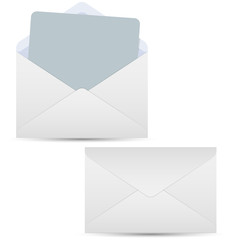 Open and closed white envelopes