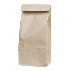 disposable paper bag isolated on white background