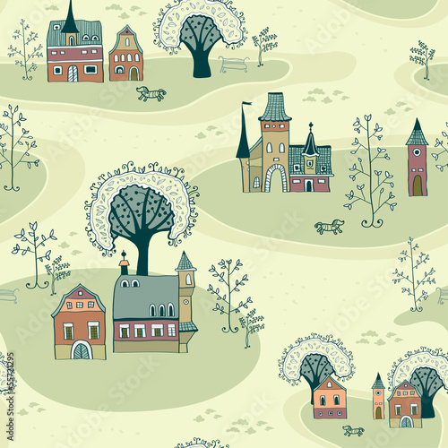 Tuinposter Op straat Cartoon map seamless pattern of old town