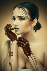 girl in chocolate