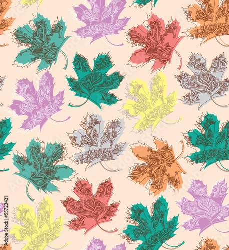 Seamless pattern of beautiful autumn leaves.