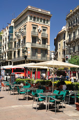Part of La Rambla street.  Barcelona.  Spain