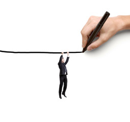businessman hanging by a rope