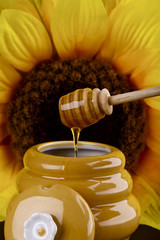 Honey dripping into a pot , sunflower in the background