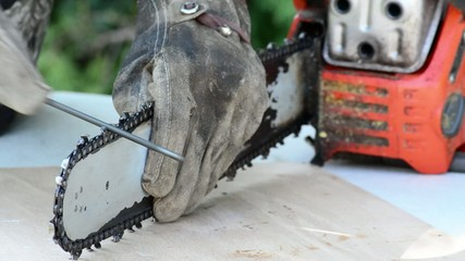 Sharpening a chainsaw using a file