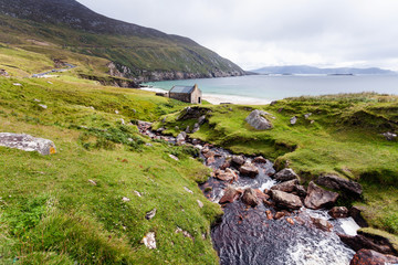 Achill Ireland, view at Keem beach.
