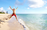 Happy man on Miami beach.