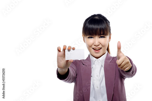 Asian businesswoman showing name card