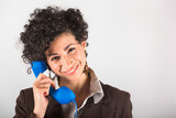 Young Businesswoman with Phone Receiver
