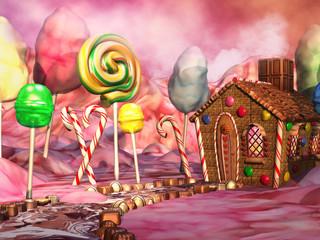 Kolorowy krajobraz z domkiem z piernika, lizakami i czekoladkami