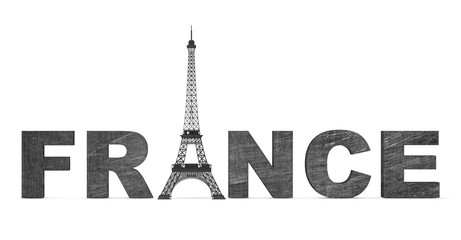 France Tourism Concept. France Sign with Eiffel Tower
