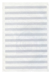 blank page of music note-book on white