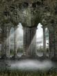 Mglista sceneria z ruinami gotyckiego budynku