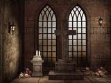 Gotycka krypta z czaszkami, świecami i lampami