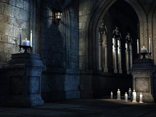Wnętrze gotyckiego kościoła ze świecami