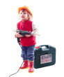 2 years child  in hardhat with drill and tool box