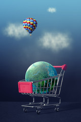 Planet earth in the shopping cart