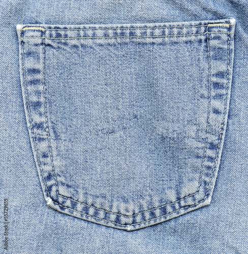 Empty back pocket of jeans