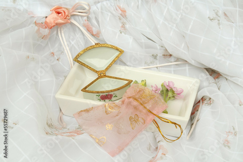 Little jewelry box, gift bag and girl dress