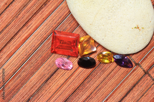 Gemstone on wood background