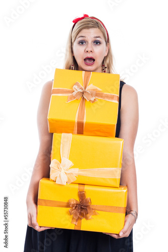 Frightened woman carrying presents