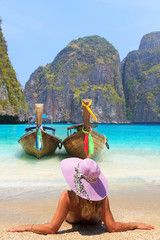 Young woman at Maya bay Phi Phi Leh island
