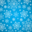 Winter blue and white christmas background with snowflakes