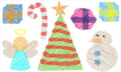 Icones do Natal em rabiscos