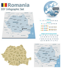 Romania maps with markers