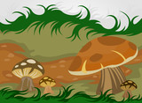 Cartoon mushrooms nature vector background