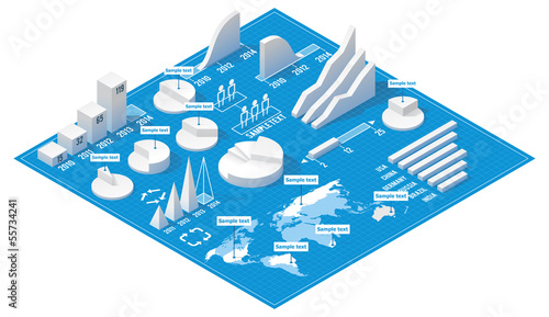 Vector isometric infographic elements