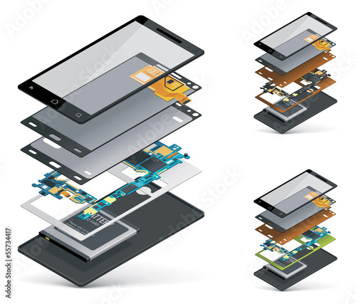 Vector isometric smartphone cutaway