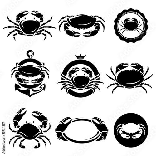 Crab set. Vector