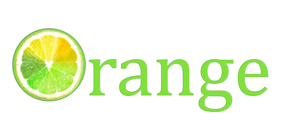 """Word """"Orange"""" with multicolored piece of lemon isolated on"""