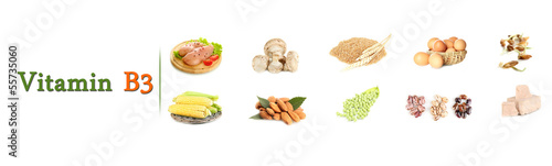 Collage of food containing vitamin B3