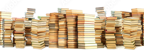 Lot of old books isolated on white