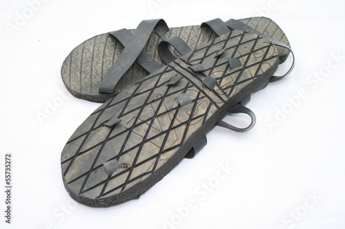 Tire Sandals Isolated On White