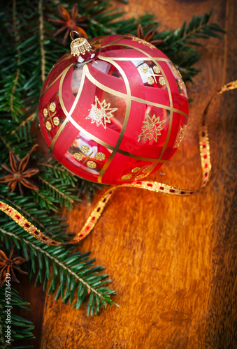 Traditional Christmas decoration on wooden table