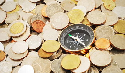 compass on money background