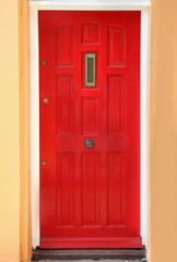 Red residential door