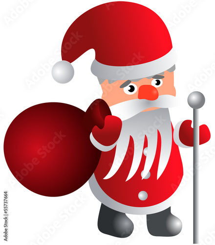 Santa Claus with a bag and a staff