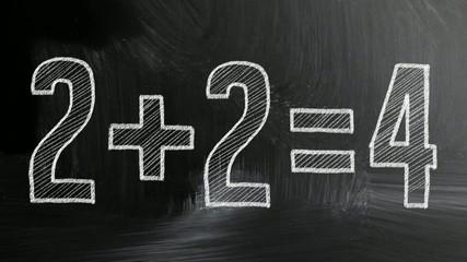 math simple equation on chalk board