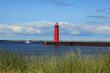 Red lighthouse in Muskegon, Michigan, USA