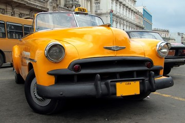Yellow Cuban Taxi
